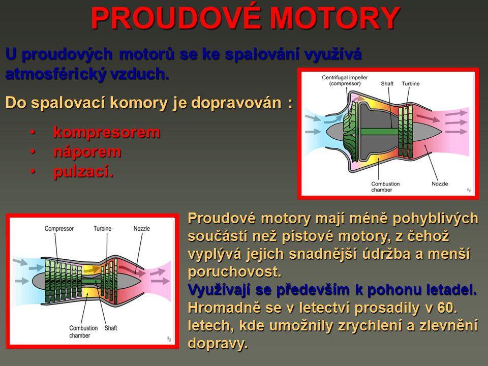 PROUDOVÉ MOTORY turboventilátorový turboventilátorový turbokompresorový turbokompresorový turbohřídelový turbohřídelový turbovrtulový turbovrtulový ventilátorovrtulový ventilátorovrtulový náporový – ramjet náporový – ramjet náporový nadzvukový – scramjet náporový nadzvukový – scramjet pulzní náporový pulzní náporový náporový turbomotor náporový turbomotor Druhy proudových motorů :