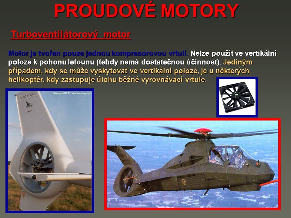 PROUDOVÉ MOTORY Motor je tvořen pouze jednou kompresorovou vrtulí.