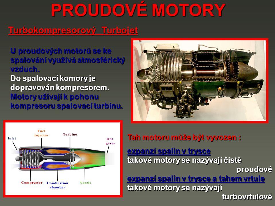 PROUDOVÉ MOTORY Turbokompresorový Turbojet U proudových motorů se ke spalování využívá atmosférický vzduch.