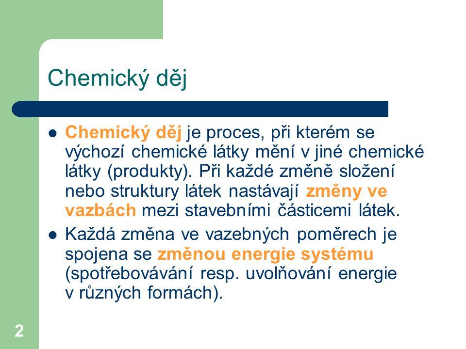 2 Chemický děj je proces, při kterém se výchozí chemické látky mění v jiné chemické látky (produkty). Při každé změně složení nebo struktury látek nas