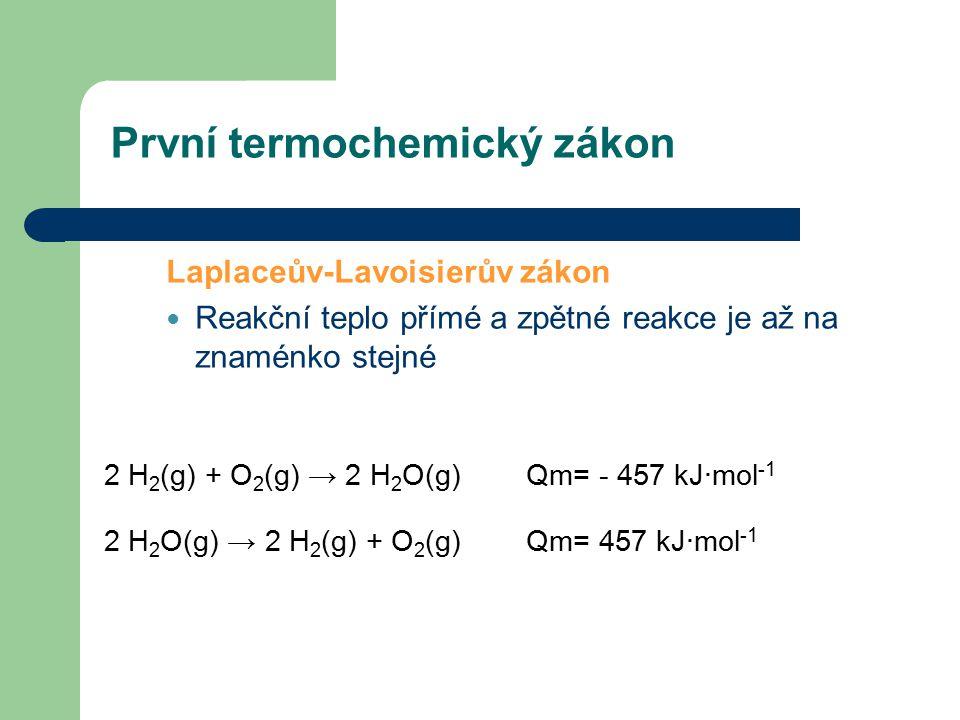 Druhý termochemický zákon Hessův zákon Reakční teplo dané reakce je součtem reakčních tepel postupně prováděných reakcí, vycházejících ze stejných výchozích látek a končících stejnými produkty C(s) + O2(g) → CO 2 (g) Qm = - 395 kJ∙mol -1 C(s) + 1 / 2 O 2 (g) → CO(g) Qm = - 111 kJ∙mol -1 CO(g) + 1 / 2 O 2 (g) → CO 2 (g) Qm = - 284 kJ∙mol -1 => - 395 kJ∙mol -1