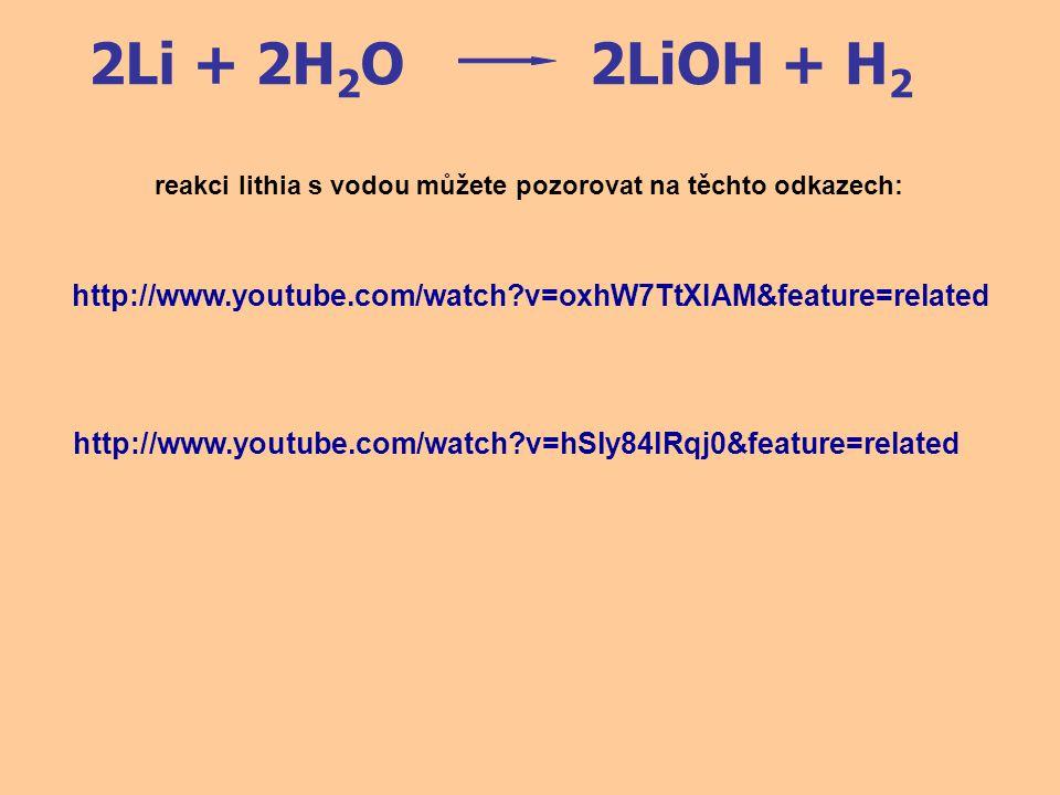 2Na + 2H 2 O2NaOH + H 2 2K + 2H 2 O2KOH + H 2