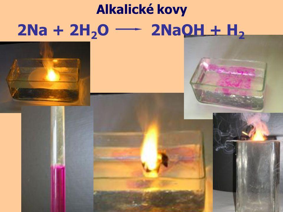 http://www.youtube.com/watch?v=QSZ-3wScePM&feature=related reakci všech alkalických kovů s vodou můžete pozorovat na tomto odkazu: 2M + 2H 2 O2MOH + H 2