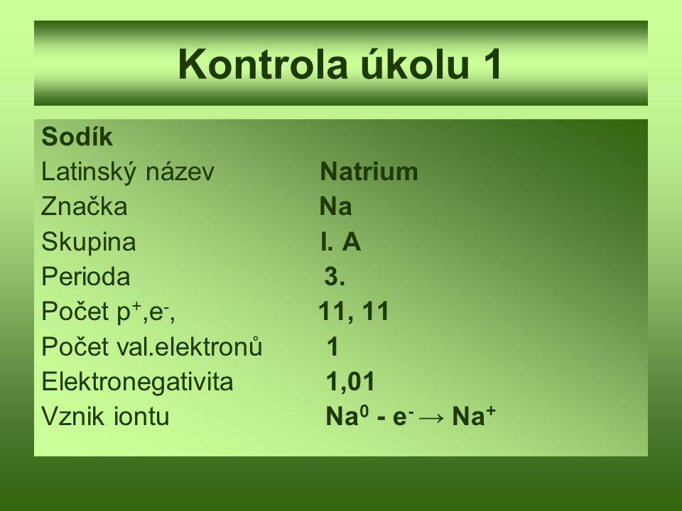 Kontrola úkolu 1 Sodík Latinský název Natrium Značka Na Skupina I. A Perioda 3. Počet p +,e -, 11, 11 Počet val.elektronů 1 Elektronegativita 1,01 Vzn