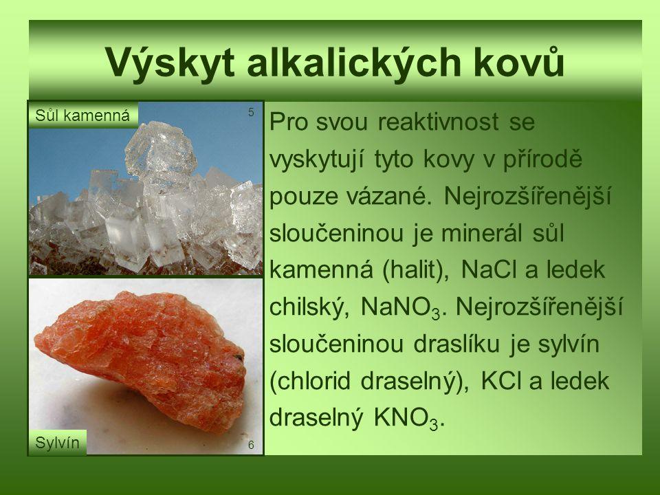 Výskyt alkalických kovů Pro svou reaktivnost se vyskytují tyto kovy v přírodě pouze vázané. Nejrozšířenější sloučeninou je minerál sůl kamenná (halit)