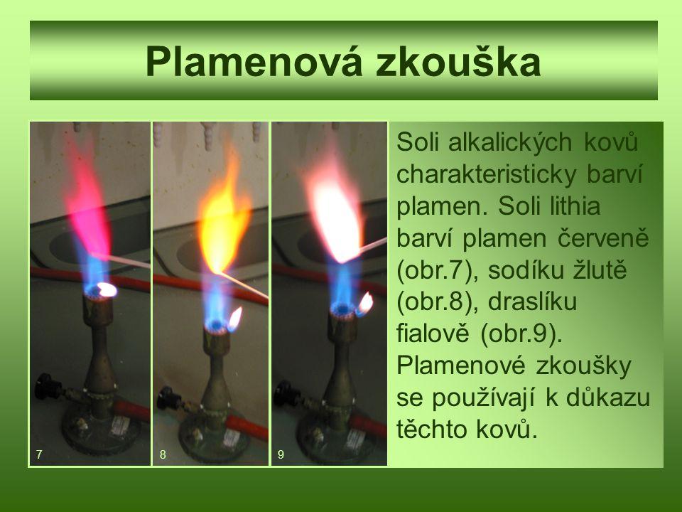 Plamenová zkouška Soli alkalických kovů charakteristicky barví plamen. Soli lithia barví plamen červeně (obr.7), sodíku žlutě (obr.8), draslíku fialov