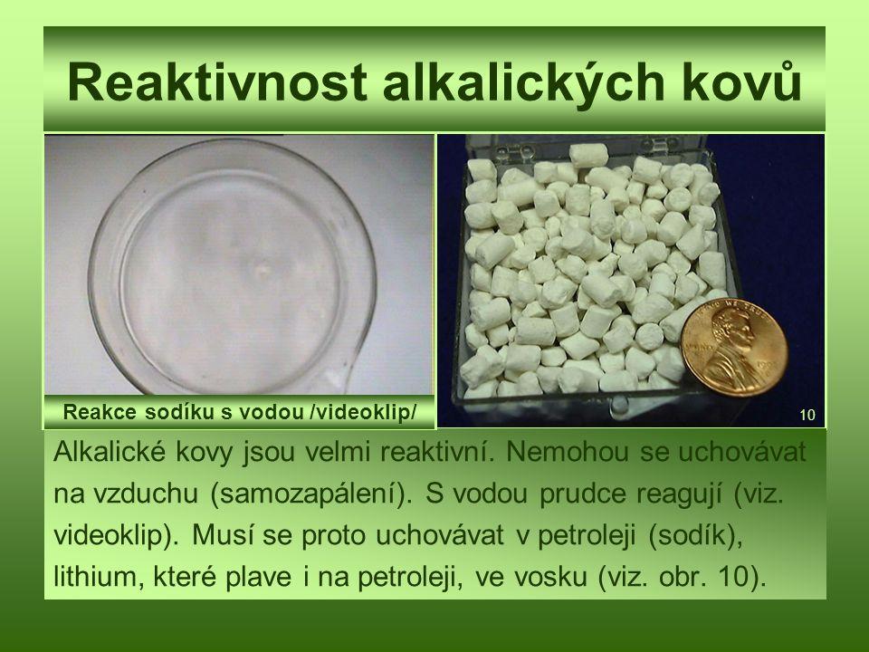 Reaktivnost alkalických kovů Alkalické kovy jsou velmi reaktivní. Nemohou se uchovávat na vzduchu (samozapálení). S vodou prudce reagují (viz. videokl
