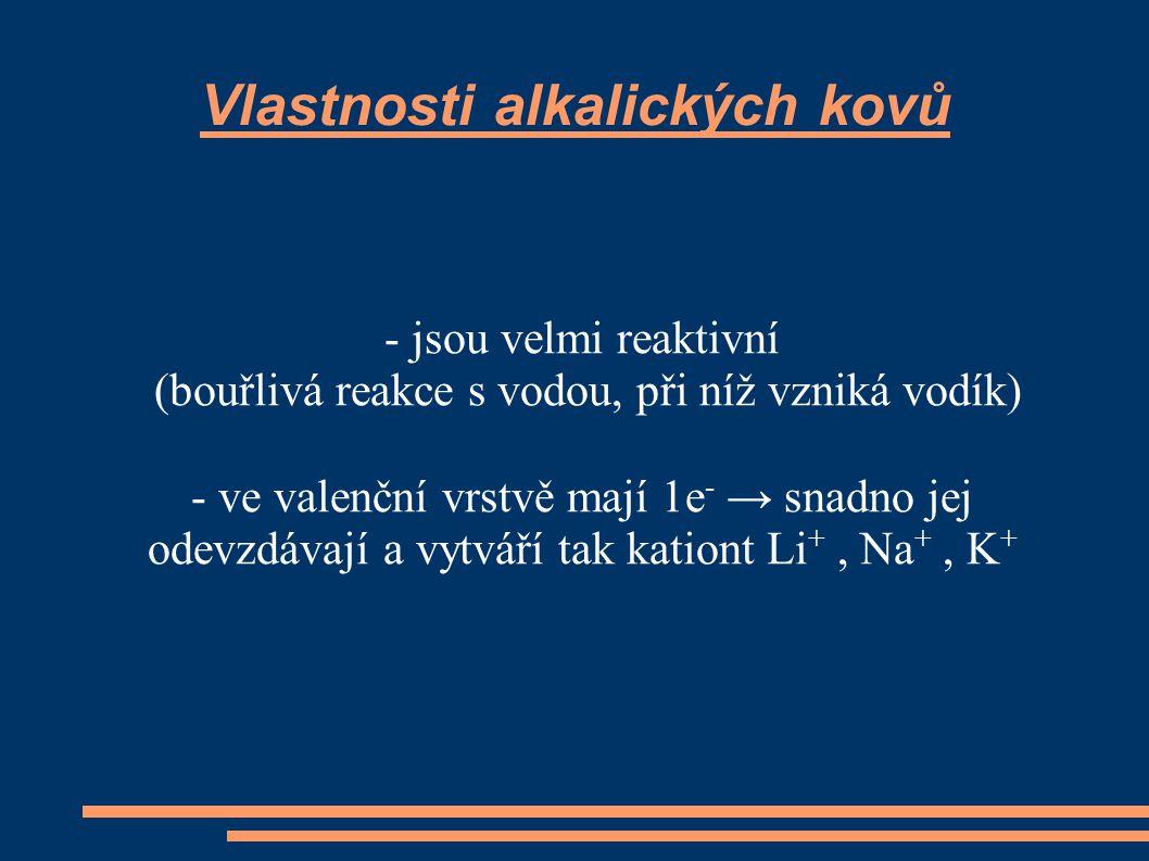 Vlastnosti alkalických kovů - jsou velmi reaktivní (bouřlivá reakce s vodou, při níž vzniká vodík) - ve valenční vrstvě mají 1e - → snadno jej odevzdávají a vytváří tak kationt Li +, Na +, K +