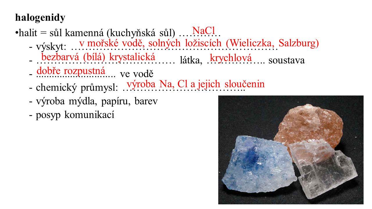 halogenidy halit = sůl kamenná (kuchyňská sůl) ………… -výskyt: …………………………………………………. -………………………………… látka, …………….. soustava -............................