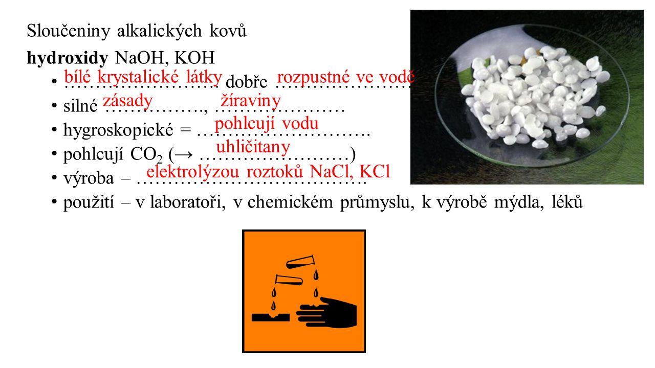 Sloučeniny alkalických kovů hydroxidy NaOH, KOH ……………………. dobře ………………………. silné ……………., ………………… hygroskopické = ………………………. pohlcují CO 2 (→ ……………………)
