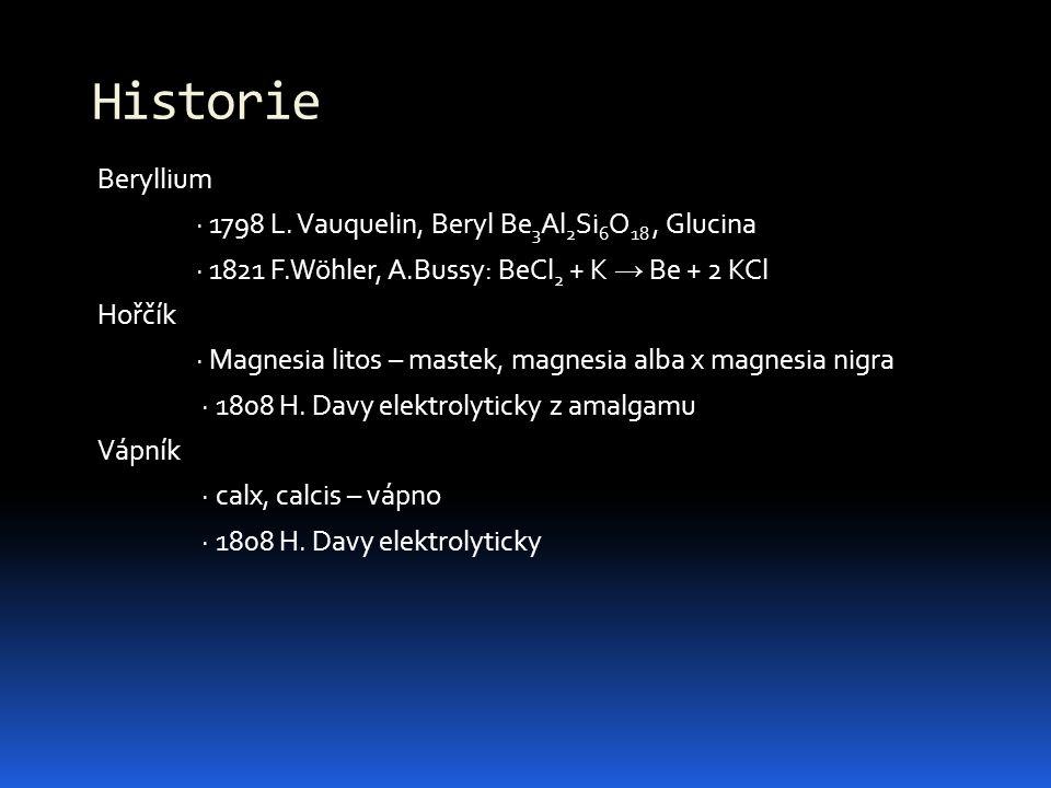 Beryllium · 1798 L. Vauquelin, Beryl Be 3 Al 2 Si 6 O 18, Glucina · 1821 F.Wöhler, A.Bussy: BeCl 2 + K → Be + 2 KCl Hořčík · Magnesia litos – mastek,