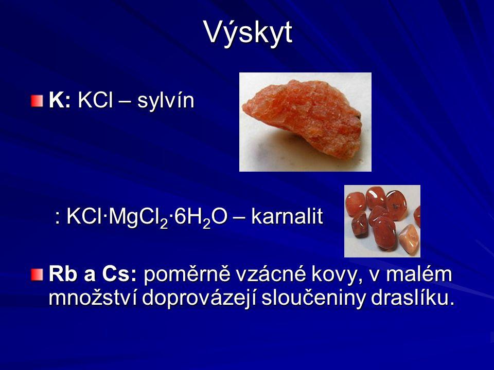 Fyzikální vlastnosti Stříbrolesklé měkké kovy Velmi lehké (Li, Na, K mají menší hustotu než voda) Velké atomové poloměry, které rostou se Z Dobré vodiče elektřiny a tepla