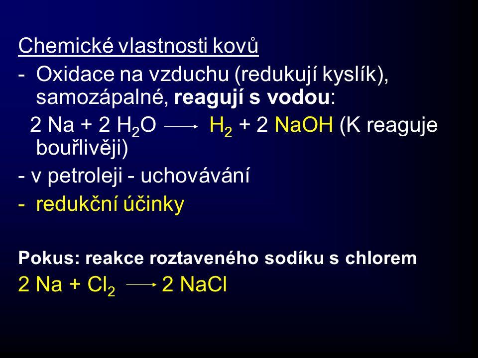 Chemické vlastnosti kovů -Oxidace na vzduchu (redukují kyslík), samozápalné, reagují s vodou: 2 Na + 2 H 2 O H 2 + 2 NaOH (K reaguje bouřlivěji) - v petroleji - uchovávání -redukční účinky Pokus: reakce roztaveného sodíku s chlorem 2 Na + Cl 2 2 NaCl