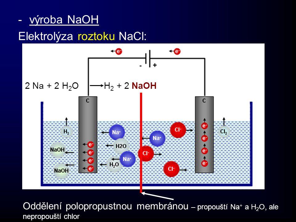 -výroba NaOH Elektrolýza roztoku NaCl: Oddělení polopropustnou membránou – propouští Na + a H 2 O, ale nepropouští chlor 2 Na + 2 H 2 O H 2 + 2 NaOH