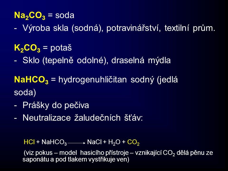 Na 2 CO 3 = soda -Výroba skla (sodná), potravinářství, textilní prům.