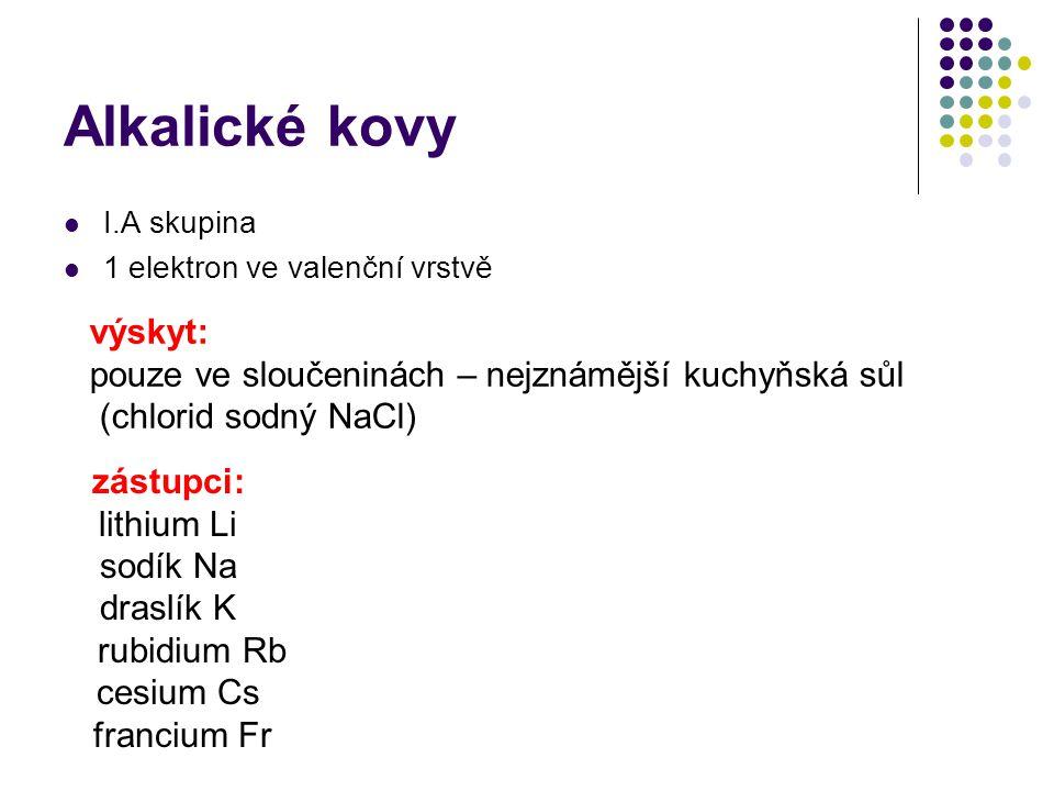 Alkalické kovy I.A skupina 1 elektron ve valenční vrstvě výskyt: pouze ve sloučeninách – nejznámější kuchyňská sůl (chlorid sodný NaCl) zástupci: lith