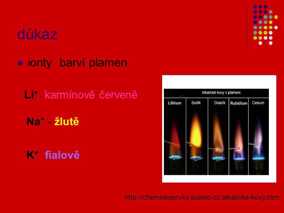 důkaz ionty barví plamen Li + - karmínově červeně Na + - žlutě K + - fialově http://chemickeprvky.euweb.cz/alkalicke-kovy.htm