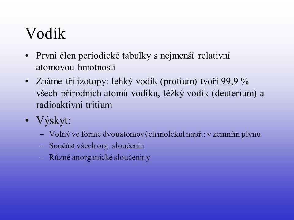 Vodík První člen periodické tabulky s nejmenší relativní atomovou hmotností Známe tři izotopy: lehký vodík (protium) tvoří 99,9 % všech přírodních ato