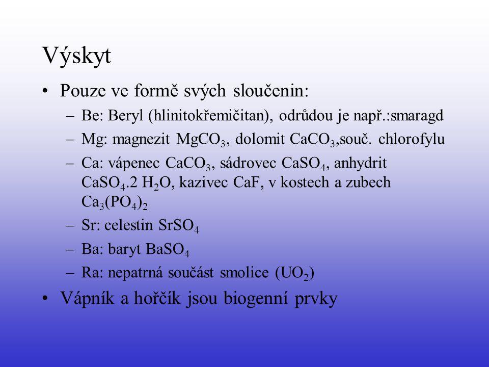 Výskyt Pouze ve formě svých sloučenin: –Be: Beryl (hlinitokřemičitan), odrůdou je např.:smaragd –Mg: magnezit MgCO 3, dolomit CaCO 3,souč. chlorofylu