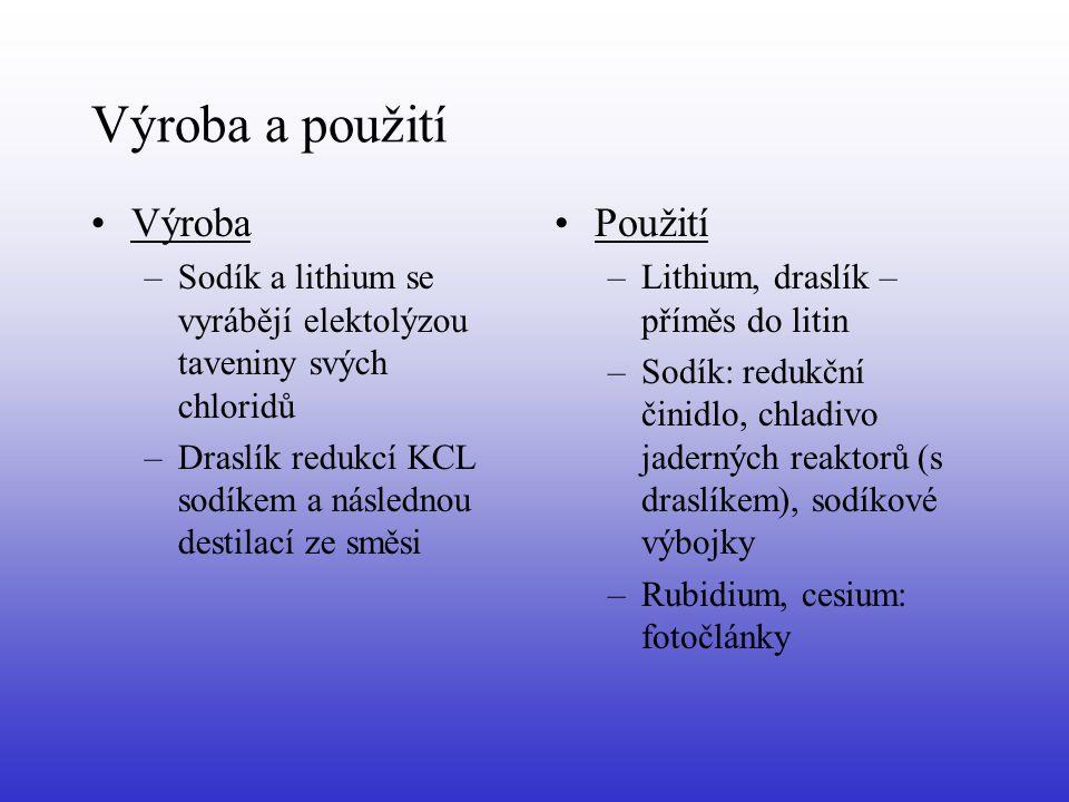 Sloučeniny Hydridy: –Sloučeniny s vodíkem –Bílé, krystalické látky –Tavenina vede elektrický proud –Ve vodě hydrolyzují (zcela) –Příprava: syntézou prvků