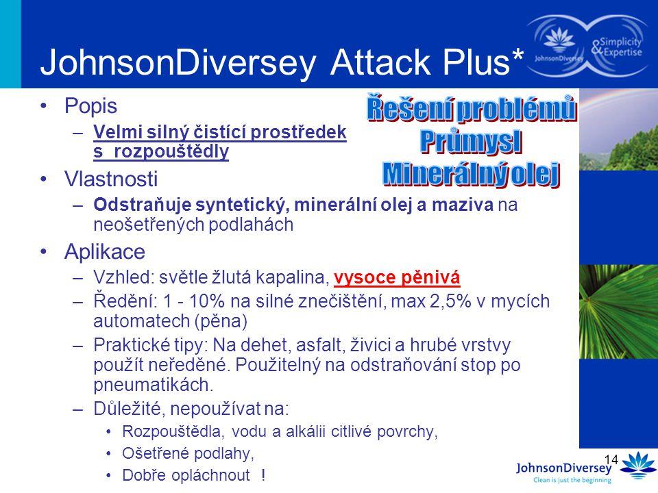 14 JohnsonDiversey Attack Plus* Popis –Velmi silný čistící prostředek s rozpouštědly Vlastnosti –Odstraňuje syntetický, minerální olej a maziva na neošetřených podlahách Aplikace –Vzhled: světle žlutá kapalina, vysoce pěnivá –Ředění: 1 - 10% na silné znečištění, max 2,5% v mycích automatech (pěna) –Praktické tipy: Na dehet, asfalt, živici a hrubé vrstvy použít neředěné.