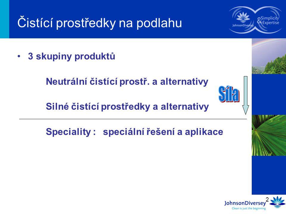 2 Čistící prostředky na podlahu 3 skupiny produktů Neutrální čistící prostř.