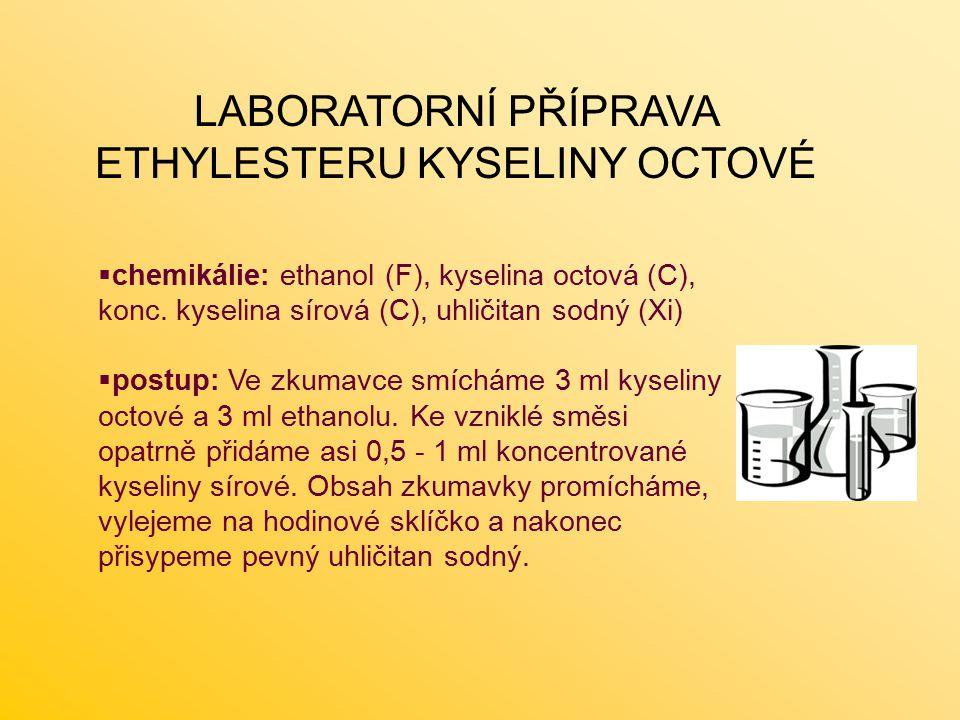 LABORATORNÍ PŘÍPRAVA ETHYLESTERU KYSELINY OCTOVÉ  chemikálie: ethanol (F), kyselina octová (C), konc.