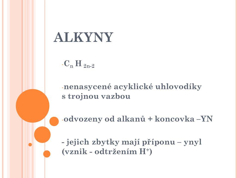 ALKYNY - C n H 2n-2 - nenasycené acyklické uhlovodíky s trojnou vazbou - odvozeny od alkanů + koncovka –YN - jejich zbytky mají příponu – ynyl (vznik