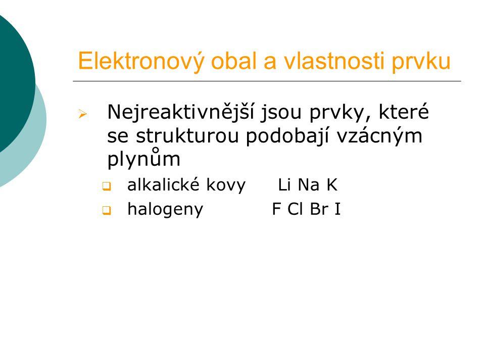 Elektronový obal a vlastnosti prvku  Nejreaktivnější jsou prvky, které se strukturou podobají vzácným plynům  alkalické kovy Li Na K  halogeny F Cl Br I