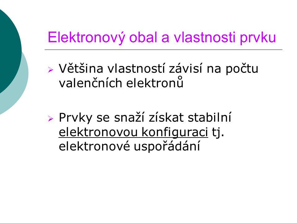 Elektronový obal a vlastnosti prvku  Většina vlastností závisí na počtu valenčních elektronů  Prvky se snaží získat stabilní elektronovou konfiguraci tj.