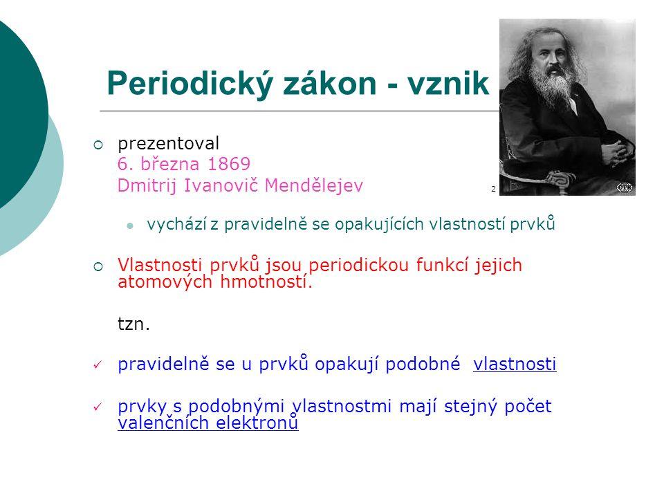 Periodický zákon - vznik  prezentoval 6.