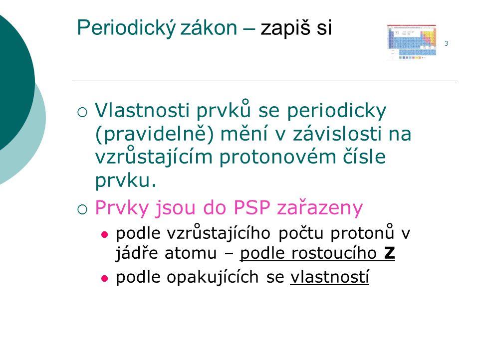 Periodický zákon – zapiš si 3  Vlastnosti prvků se periodicky (pravidelně) mění v závislosti na vzrůstajícím protonovém čísle prvku.