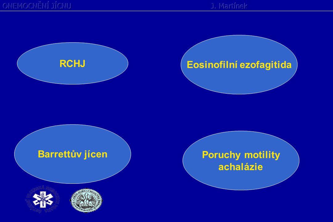 REFLUXNÍ CHOROBA JÍCNU Onemocnění způsobené patologickým gastroesofageálním refluxem Poruchy motility jícnu (svěrač, peristaltika) Agresivita refluxátu - HCl Hiátová hernie a porucha zevních mechanismů