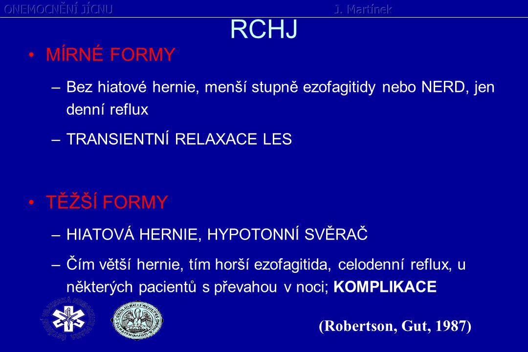 RCHJ MÍRNÉ FORMY –Bez hiatové hernie, menší stupně ezofagitidy nebo NERD, jen denní reflux –TRANSIENTNÍ RELAXACE LES TĚŽŠÍ FORMY –HIATOVÁ HERNIE, HYPO