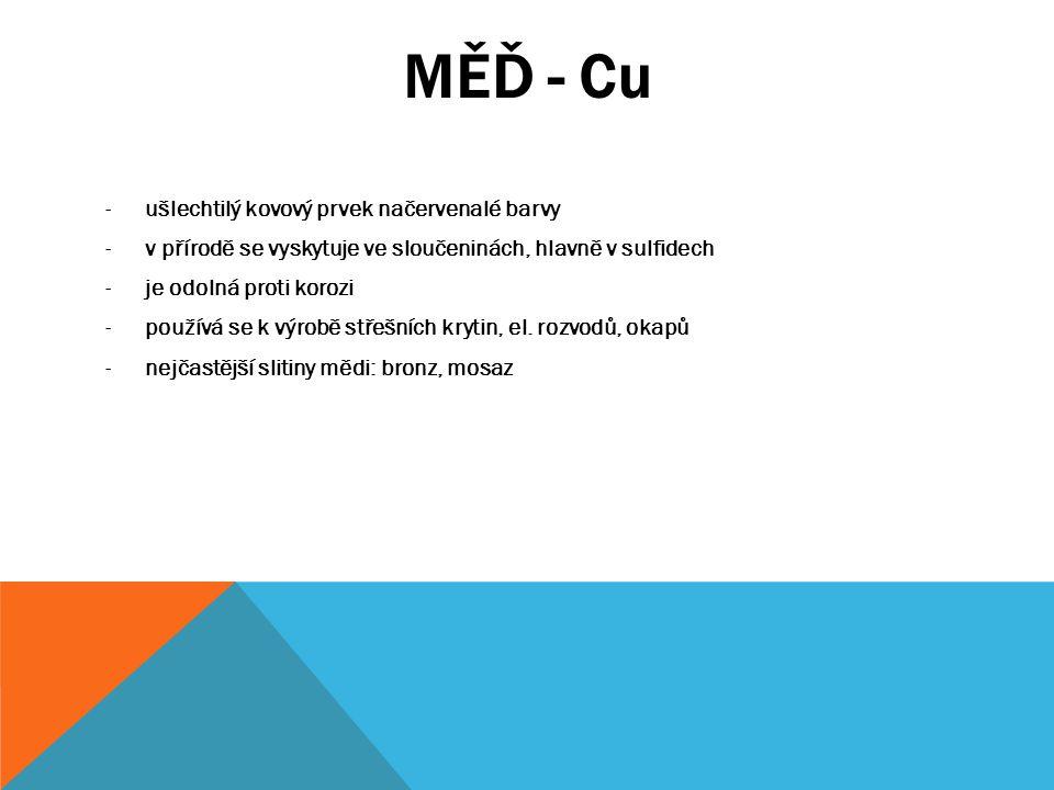 MĚĎ - Cu -ušlechtilý kovový prvek načervenalé barvy -v přírodě se vyskytuje ve sloučeninách, hlavně v sulfidech -je odolná proti korozi -používá se k