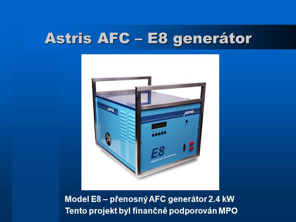 Astris AFC – E8 generátor Model E8 – přenosný AFC generátor 2.4 kW Tento projekt byl finančně podporován MPO
