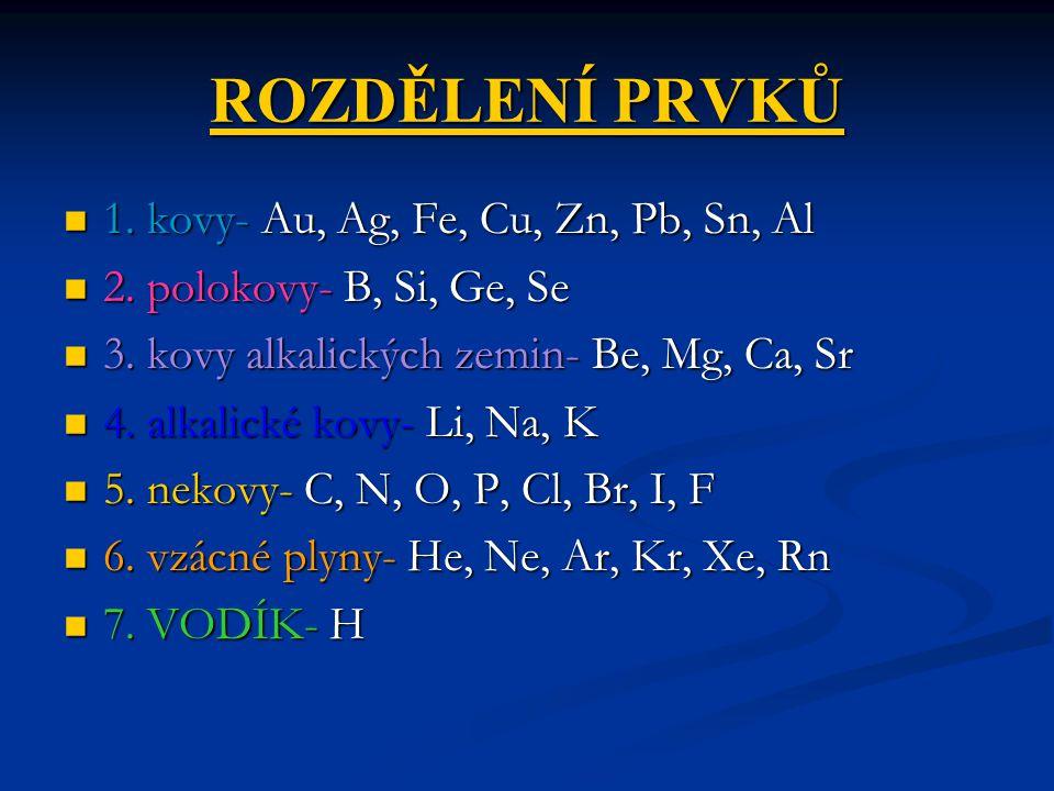 ROZDĚLENÍ PRVKŮ 1. kovy- Au, Ag, Fe, Cu, Zn, Pb, Sn, Al 1. kovy- Au, Ag, Fe, Cu, Zn, Pb, Sn, Al 2. polokovy- B, Si, Ge, Se 2. polokovy- B, Si, Ge, Se