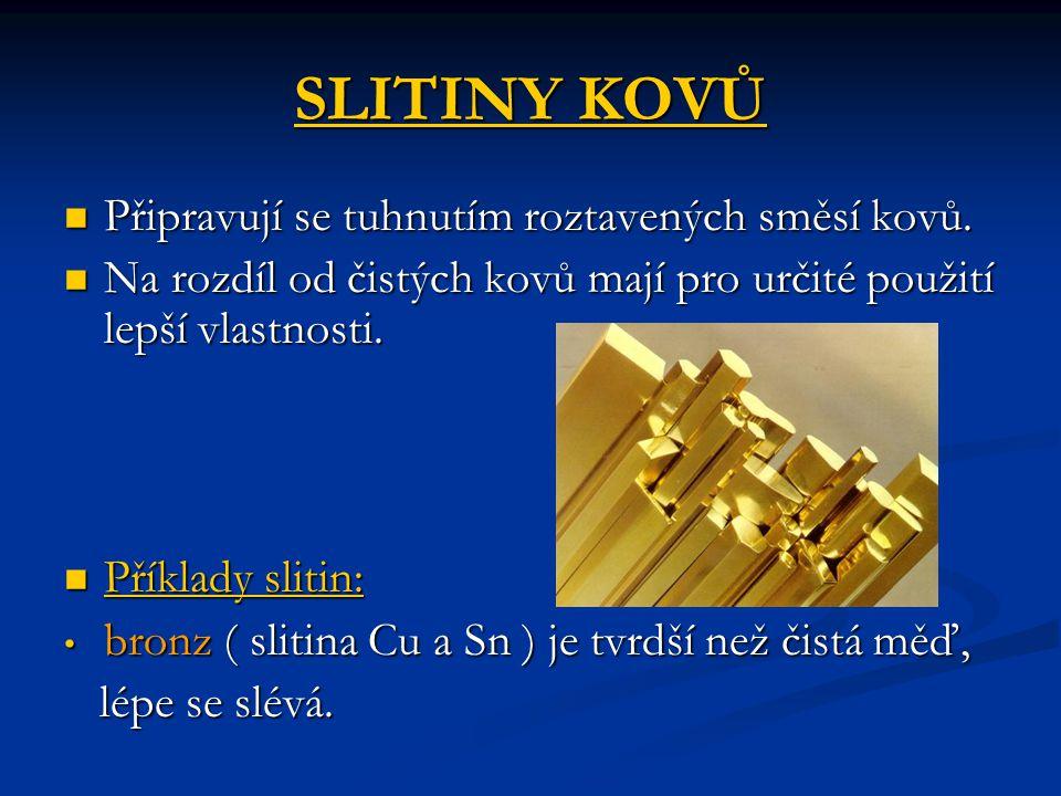 SLITINY KOVŮ Připravují se tuhnutím roztavených směsí kovů.