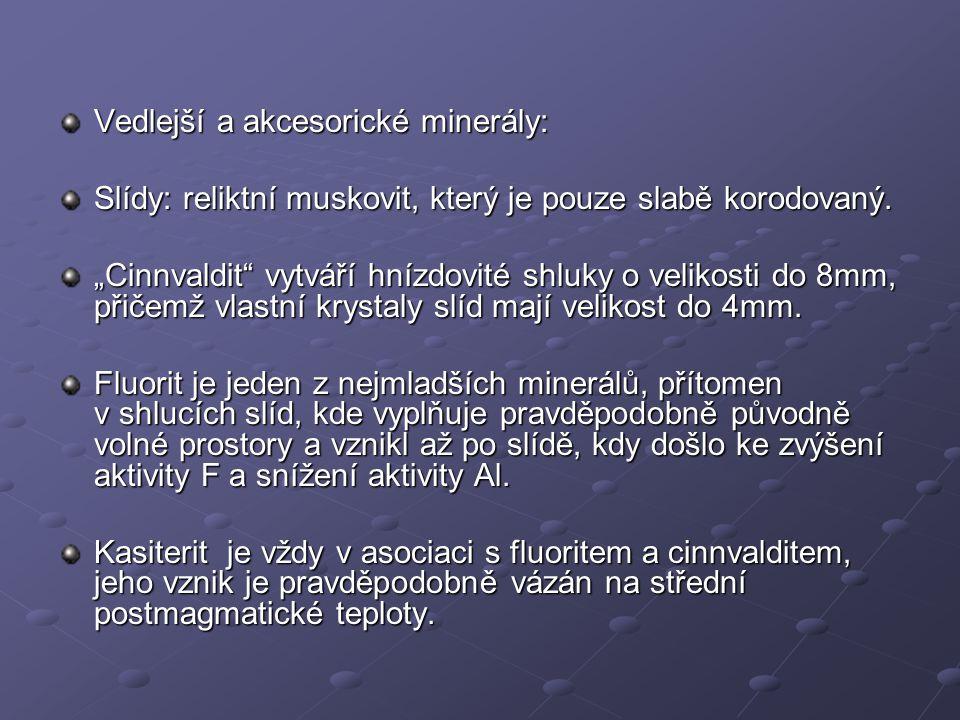 """Vedlejší a akcesorické minerály: Slídy: reliktní muskovit, který je pouze slabě korodovaný. """"Cinnvaldit"""" vytváří hnízdovité shluky o velikosti do 8mm,"""