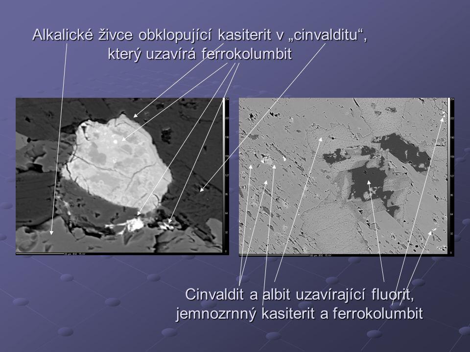 """Alkalické živce obklopující kasiterit v """"cinvalditu"""", který uzavírá ferrokolumbit Cinvaldit a albit uzavírající fluorit, jemnozrnný kasiterit a ferrok"""