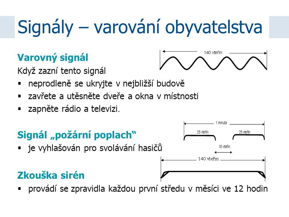 Varovný signál Když zazní tento signál  neprodleně se ukryjte v nejbližší budově  zavřete a utěsněte dveře a okna v místnosti  zapněte rádio a tele