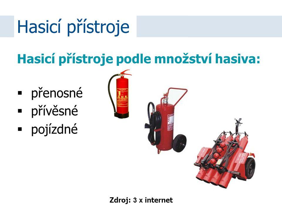 Hasicí přístroje podle množství hasiva:  přenosné  přívěsné  pojízdné Hasicí přístroje Zdroj: 3 x internet
