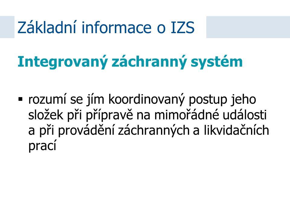 Integrovaný záchranný systém  r ozumí se jím koordinovaný postup jeho složek při přípravě na mimořádné události a při provádění záchranných a likvida