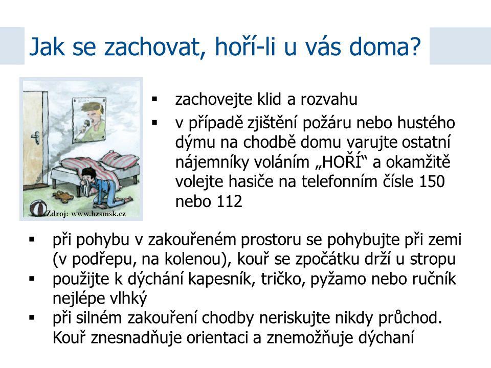 """Zdroj: www.hzsmsk.cz  zachovejte klid a rozvahu  v případě zjištění požáru nebo hustého dýmu na chodbě domu varujte ostatní nájemníky voláním """"HOŘÍ"""""""