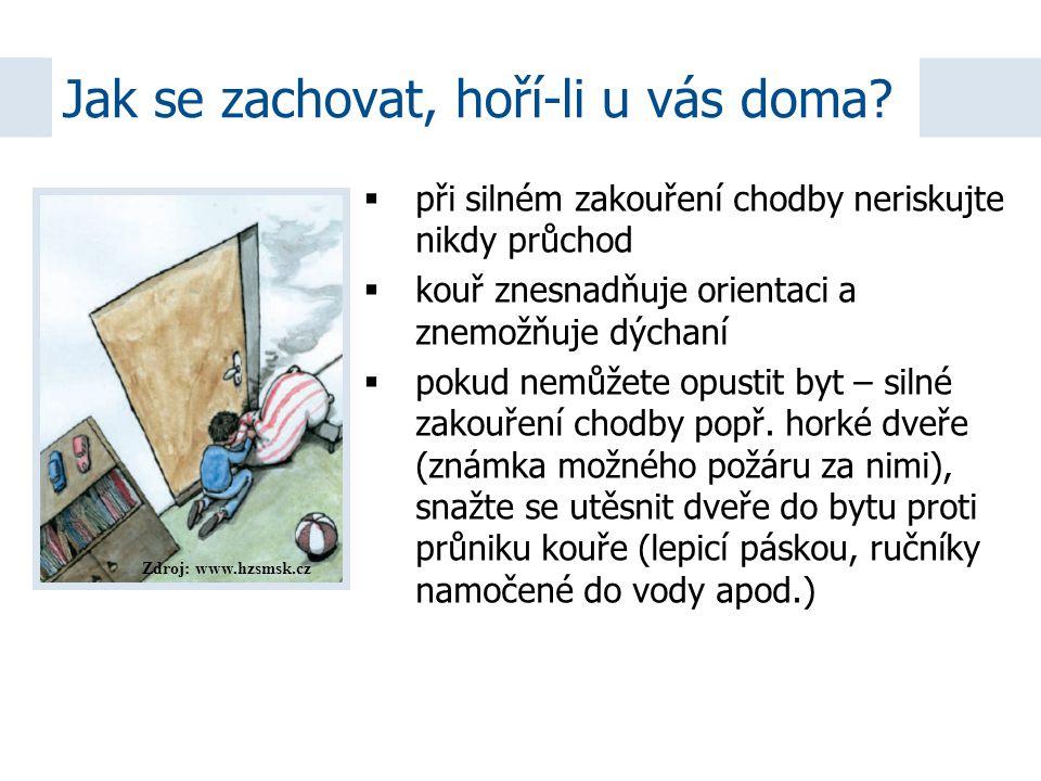 Zdroj: www.hzsmsk.cz  při silném zakouření chodby neriskujte nikdy průchod  kouř znesnadňuje orientaci a znemožňuje dýchaní  pokud nemůžete opustit