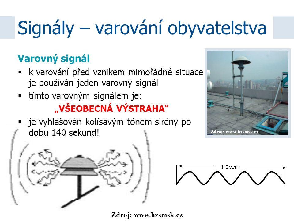 """Zdroj: www.hzsmsk.cz Varovný signál  k varování před vznikem mimořádné situace je používán jeden varovný signál  tímto varovným signálem je: """"VŠEOBE"""