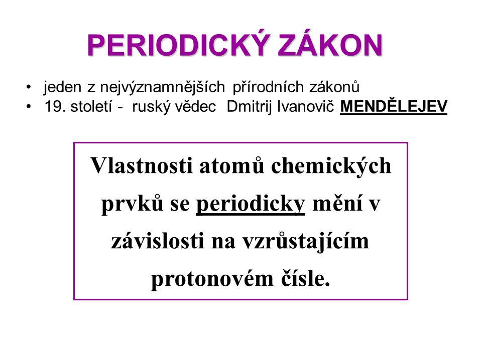 PERIODICKÝ ZÁKON PERIODICKÝ ZÁKON jeden z nejvýznamnějších přírodních zákonů 19. století - ruský vědec Dmitrij Ivanovič MENDĚLEJEV Vlastnosti atomů ch