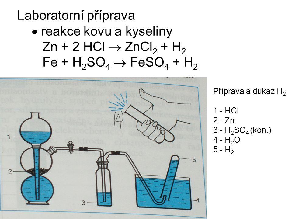 Laboratorní příprava  reakce kovu a kyseliny Zn + 2 HCl  ZnCl 2 + H 2 Fe + H 2 SO 4  FeSO 4 + H 2 Příprava a důkaz H 2 1 - HCl 2 - Zn 3 - H 2 SO 4