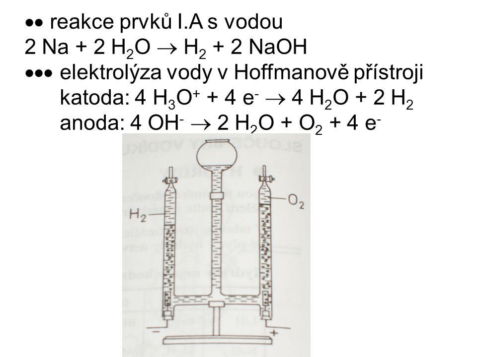  reakce prvků I.A s vodou 2 Na + 2 H 2 O  H 2 + 2 NaOH  elektrolýza vody v Hoffmanově přístroji katoda: 4 H 3 O + + 4 e -  4 H 2 O + 2 H 2 anod