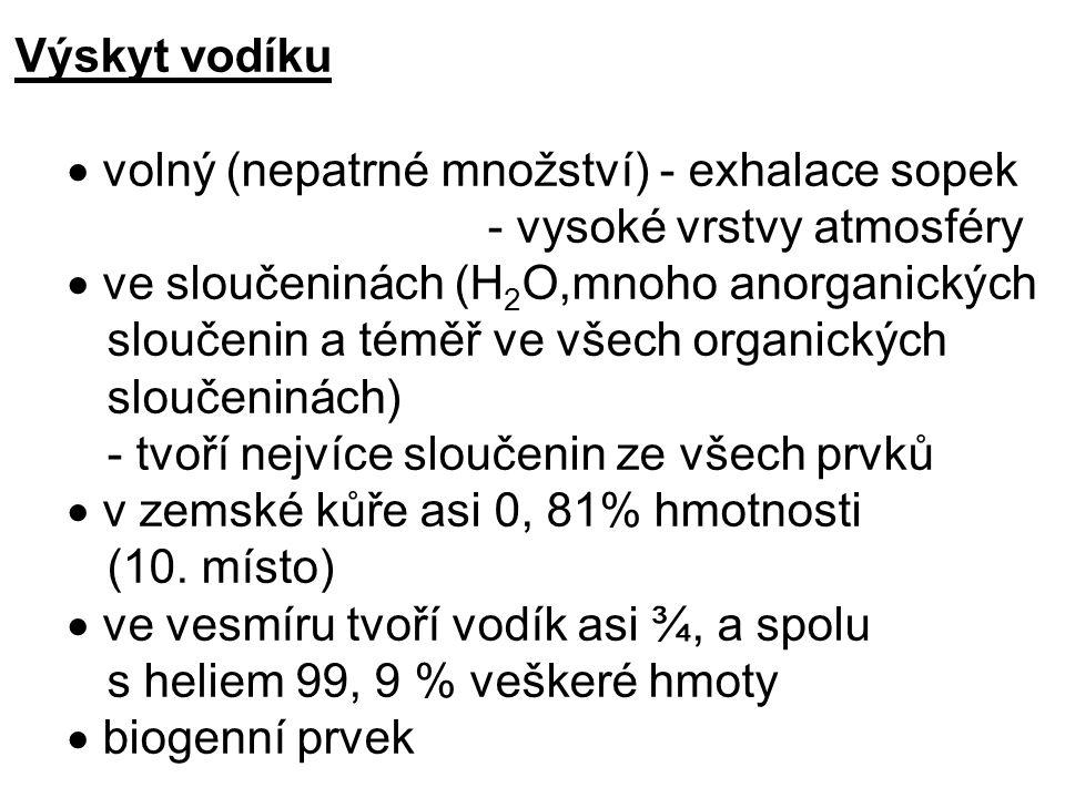 Výskyt vodíku  volný (nepatrné množství) - exhalace sopek - vysoké vrstvy atmosféry  ve sloučeninách (H 2 O,mnoho anorganických sloučenin a téměř ve